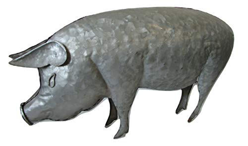"""Price comparison product image BSA Rustic Look 17"""" Galvanized Metal Pig Statue Spring Home or Garden Decor"""