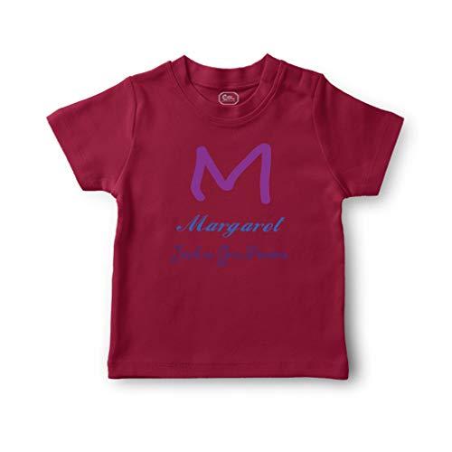 (Personalized Custom Alphabet Letter Jewel Gem Precious Cotton Short Sleeve Crewneck Boys-Girls Toddler T-Shirt Jersey - Garnet, 6 Months)