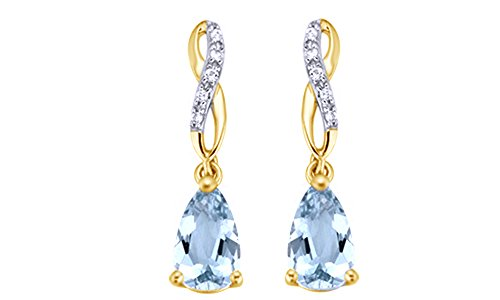 Simulated Aquamarine & White Sapphire CZ Infinity Dangle Earrings in 14k Gold Over Sterling Silver 14k Yg Dangle