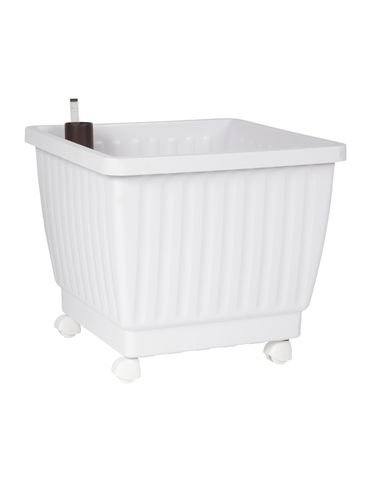 17 Self Watering Rolling Planter White