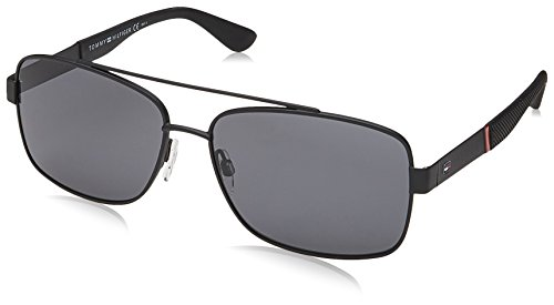 Tommy Hilfiger TH1521/S 003 Matte Black TH1521/S Rectangle Sunglasses Lens - Tommy Sunglasses Men Hilfiger