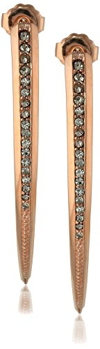 (PHUN by Paige Novick Amber Collection Shiny Rose Gold Short Curved Spike Earrings )