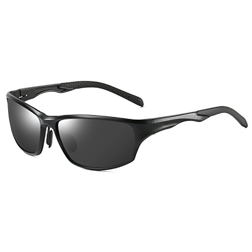 Polarized Sunglasses Sport Wrap Al-Mg Metal Frame for Driving Fishing Golf 64mm(Black frame Gray lens)