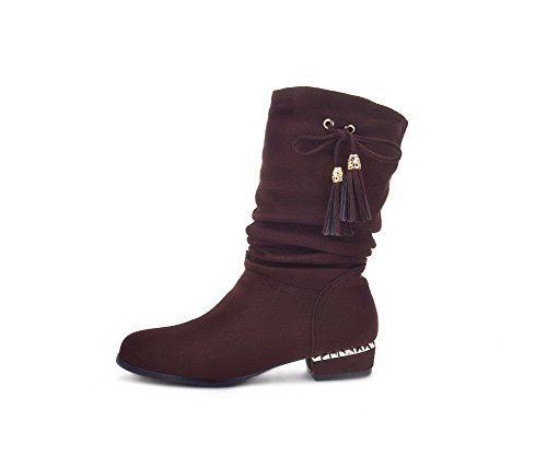 Top Womens Brown Heels Solid Frosted Toe Mid Low Closed Round AmoonyFashion Boots 7d8qwFAq