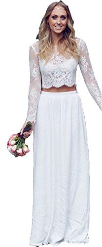 Veiai Womens Tow Piece Long Boho Country Bride Wedding Dresses With Long Sleeve US8 Size Ivory