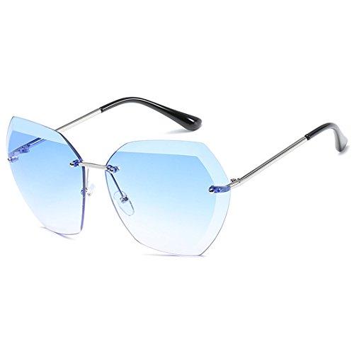 sol tamaño de gran UV400 sin de Lens Gafas marco Sun sin para mujeres Aiweijia Cutting montura Plateado Azul Glasses Diamond zREfwqn