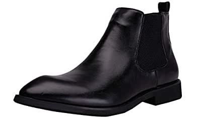 Yuruma Chelsea Boots Men Slip On Zipper Casual Dress Boots Martin Boots Pointed Black Leather Formal Ankle Boots Black Size: 7