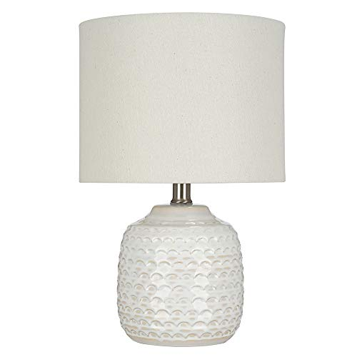 Catalina Lighting 21560-000 Transitional Textured Ceramic Accent Table Lamp with Linen Shade, 15.25