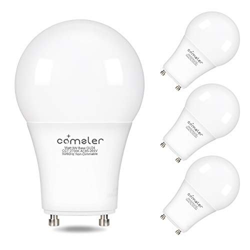 (Comzler GU24 Light Bulb 72W Equivalent, 9W A19 LED Bulbs with GU24 Twist-in Base, 2700K Warm White Non-dimmable Lights for Home, Kitchen, Bedroom(4-Pack) (2700K))