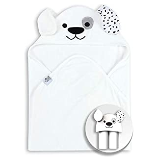Super Soft Bamboo Baby Bath Towels, Better Than Cotton - Super Absorbent Knit Terry Cloth, Super Soft Hooded Newbron Towel for Boy Girl, Suitable as Baby Gifts, 30 x 30 Inch - White by Spotted Play