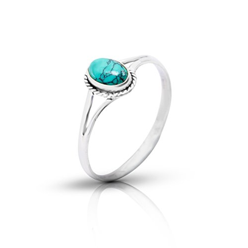 Koral Jewelry Synthetic Turquoise Vintage Look Ring 925 Sterling Silver US Size 5 6 7 8 9 (9)