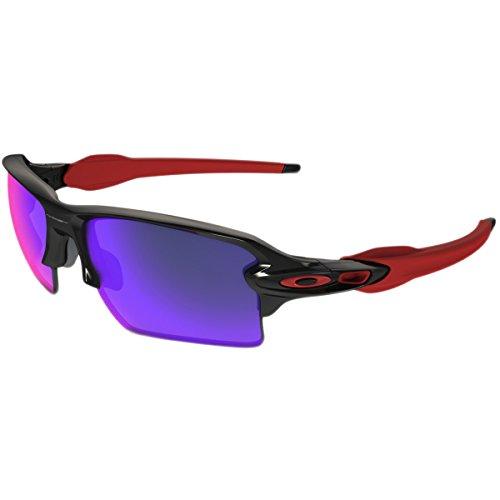 Oakley Men's Flak 2.0 Xl Non-Polarized Iridium Rectangular Sunglasses, Polished Black w/Positive Red Iridium, 59 - Oakleys Black Red And
