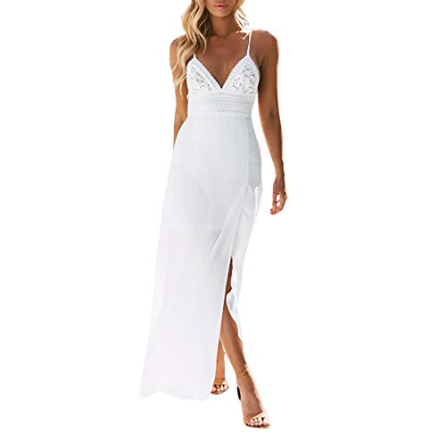 Hot!Woman's Slit Lace Embroidery Low Chest Formal Dress Ninasill Solid Color Sling V-Neck Vacation Dress Bohemia Long Skirt White -