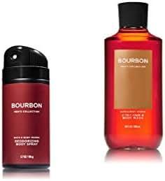 Bath & Body Works - Bourbon - Deodorizing Body Spray and 2 in 1 Hair and Body Wash - Gift Set