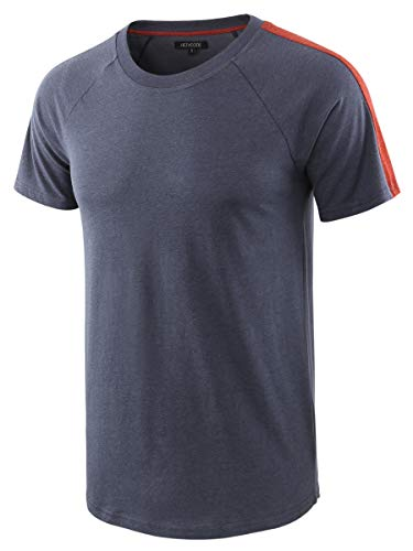 (HETHCODE Men's Classic Vintage Retro Active Short Sleeve Crew Jersey Tee Shirt Cadet Blue/Rusty M)