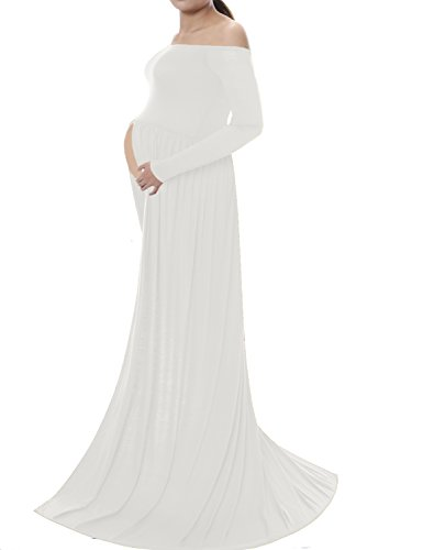 Saslax Maternity Chiffon Gown Split Front Maxi Photography Dress for Photo (Cheap Fancy Dress Outfits)