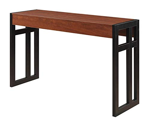 Wood and Metal Console Table - Console Table with Dark Brown Legs - Cherry