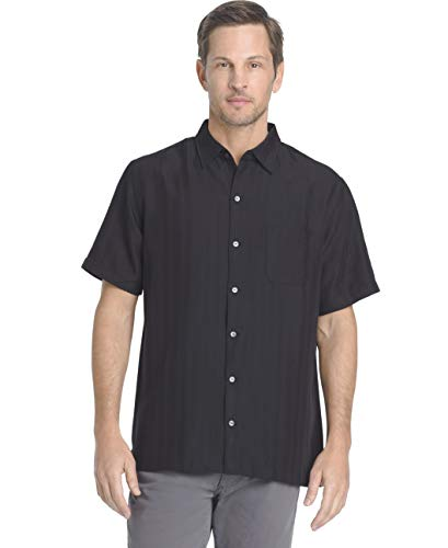 Shirt Silk Button Front - Van Heusen Men's Air Short Sleeve Button Down Poly Rayon Stripe Shirt, Legacy Black, X-Large