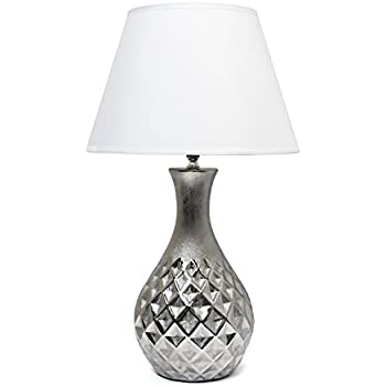 Elegant Designs LT2041-MSV Juliet Ceramic Table Lamp with Metallic Silver Base & White Fabric Shade