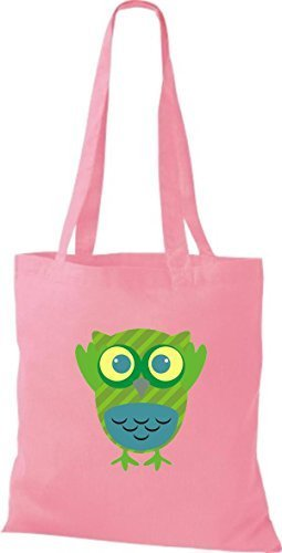 Handbag Boxes Striped Jute Pretty Colorful Pink Owl Dots With Bag Retro Owl Shirtinstyle Various 5x4TPXq