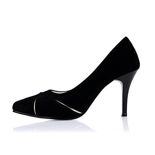 Balamasa Dames Mode Pleather Pompes-chaussures Noir