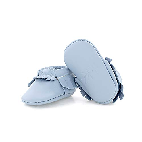 Freshly Picked - Soft Sole Leather Moccasins - Newborn Baby Girl Boy Shoes - Size 0 Powder Blue (Freshly Picked)