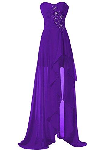 Asbridal Haut Des Femmes Bien-aimée Faible Robe De Bal Du Soir Perlage Chiffion Bustier Violet