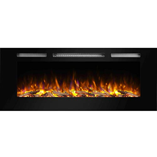 "PuraFlame Alice 50"" Recessed Electric Fireplace, Wall Mounted for 2 X 6 Stud, Log Set & Crystal, 1500W Heater, Black"