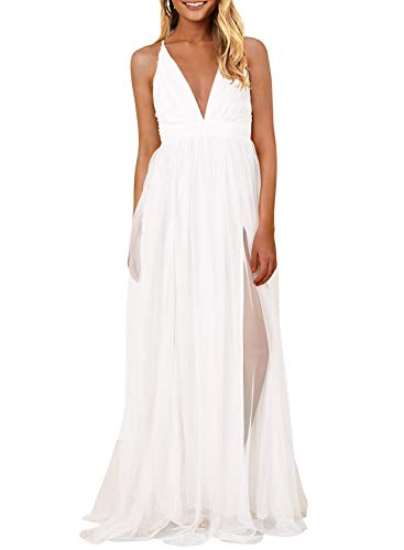 MIHOLL Women's Elegant Long Dress Deep V Neck Slit Prom Dress Flowy Evening Dress (Large, White)