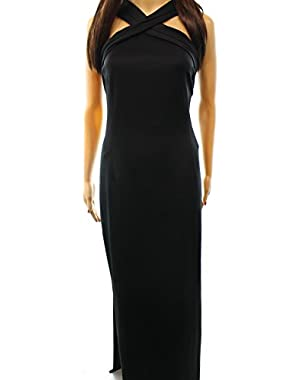 Women's Criss-Cross Scuba Ball Gown Black 14