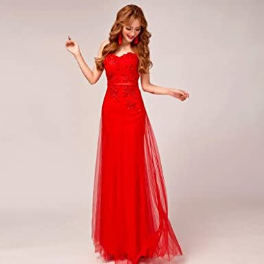 Lactraum LF4070 Bridesmaid Dress Ball Gown Evening Dress Prom Dresses Wedding Dresses Prom Dress Embroidered stripping - Red -: Amazon.co.uk: Clothing
