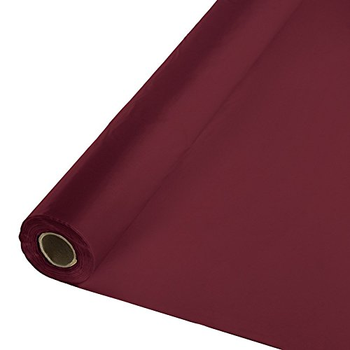 Creative Converting Touch of Color Plastic Tablecover Banquet Roll, 250', Burgundy (Party Decorations Roll)