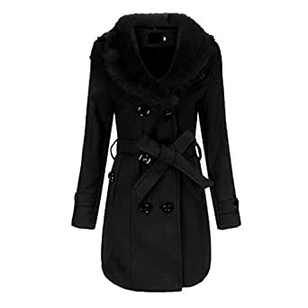 Fulision Women's Long Sleeve Slim Warm Double-Breasted Coat Winter Trench Jacket with Belt Black