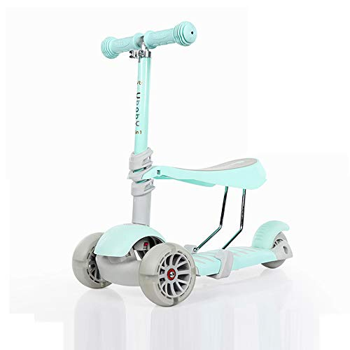 QWERTU Kick Scooter with Detachable seat Ideal for Children and Toddler Girls or Boys - Adjustable Height with Extra Wide Deck Flash Wheel