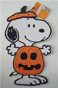 New PEANUTS Halloween SNOOPY Wooden Decorative Plaque Glitter Sparkles