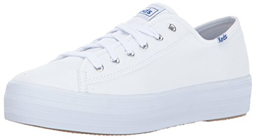Keds Women's Triple Kick Canvas Fashion Sneaker,White,8 M US ()