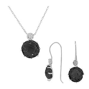 925 Sterling Silver Black CZ Charm Pendant Necklace Earrings Set