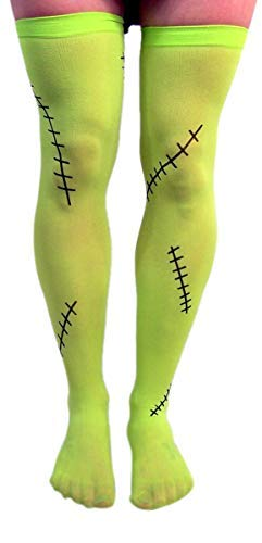 Green Frankenstein Monster Thigh-High Halloween Tights Costume -