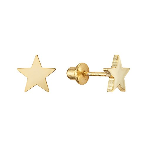 14k Yellow Gold Plain Star Children Screwback Baby Girls Stud (14k Star Earrings)