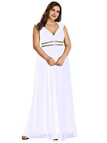 Ever-Pretty Womens Chiffon Sleeveless Beaded Empire Waist Prom Dress 18 US White ()