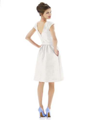 Snow De White Length Sung Bateau Cocktail Neck Peau Soie by with Alfred Bow Women's Dress xCqp1wZ