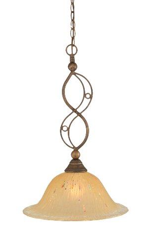 Toltec Lighting 231-BRZ-740 Jazz One-Light Down light Pendant Bronze Finish with Amber Crystal Glass, 17-Inch - Jazz 1 Light Pendant