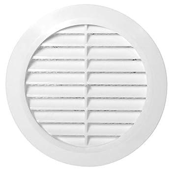 /Ø 80mm Abschlussgitter mit Insektenschutz wei/ß L/üftungsgitter rund