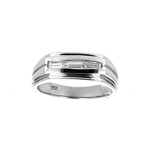 Mens Diamond Ring, 18Kt White Gold Mens Diamond Ring, 0.60 Ct -