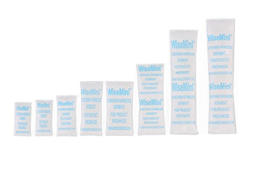300Packets 1Gram Per Packet Wisemini Tyvek Packed Silica Gel Desiccant Sachet for Pharmaceutical Product Packaging FDA Approved Moisture Absorber Silica Gel Packs (Wet Vacuums Vapor)