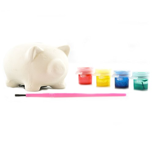 JaRu Piggy Bank Paint Set- Paint and Decorate Your own Piggy Bank! Comes with 4 Colors, 1 Brush, and Blank Piggy - Blanks Bank Piggy Color