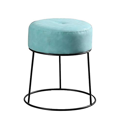 Small stool Round Footstool Shoes Bench Home Leather Breathable Wrought Iron wear-Resistant Smooth Non-Slip Weight Bearing a Variety of Colors Optional (Color : Light Blue, Size : 3037cm) (Light Blue Leather Ottoman)