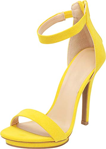 Cambridge Select Women's Open Toe Single Band Stretch Elastic Ankle Strap Stiletto High Heel Sandal (5.5 B(M) US, Yellow IMSU) - Stiletto Shoes Designer