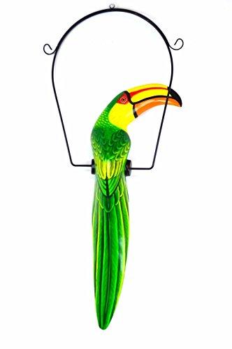 26 Inch Hand Painted Wooden Toucan Bird Hanging Statue Green