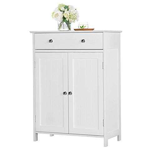 Yaheetech Free Standing Bathroom Cabinet Storage Cabinet with 1 Drawer 2 Doors, Adjustable Shelf, 23.6x11.8x31.5